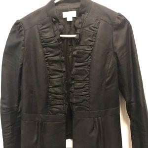 Loft black ruffle blazer